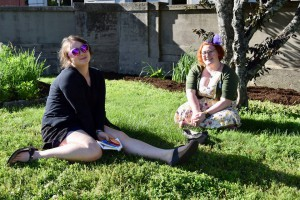 garden party ladies on the grass