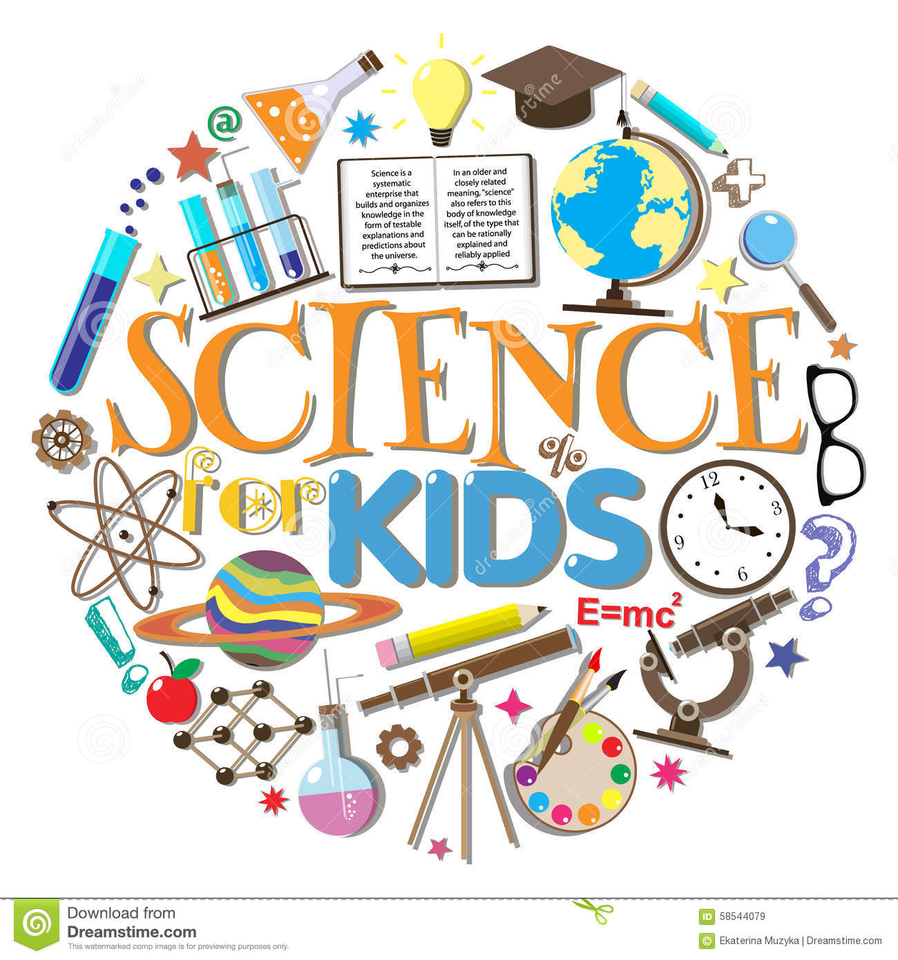 Science kids school symbols design elements white background vector